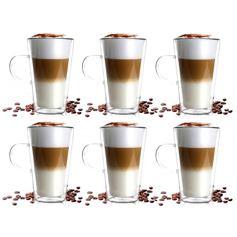 Zestaw Szklanek Termicznych Do Kawy Latte Macchiato 6 Sztuk